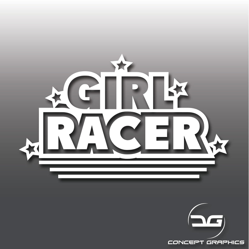 Girl Racer Funny Vinyl Decal Sticker Lady Driven Joke Decal