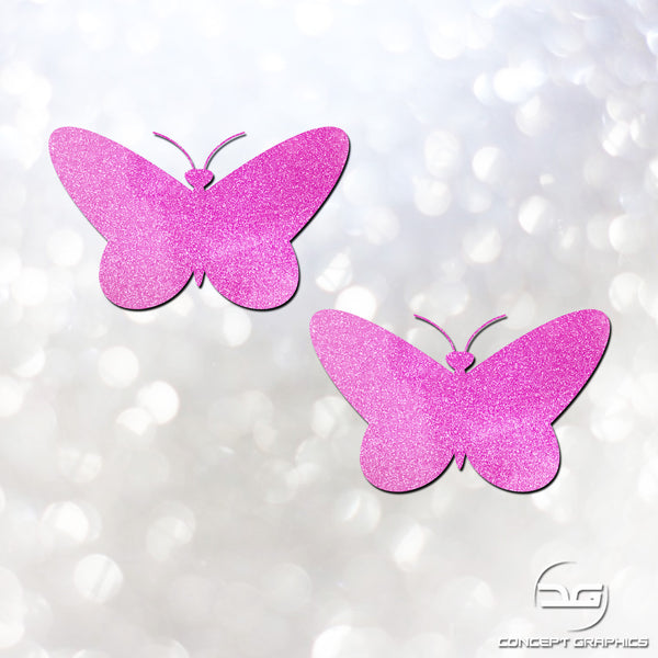 2x Glitter Butterfly's Car, Laptop, Bike, Macbook Vinyl Decal Stickers