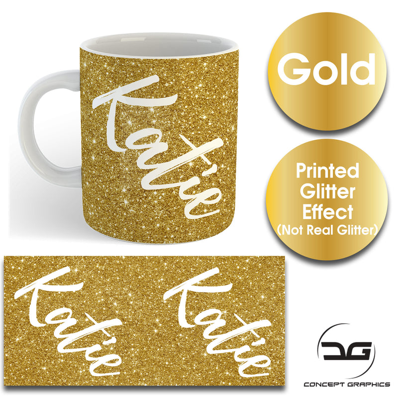 Custom Personalised Name Printed Spectrum Gold Glitter Effect Coffee Mug Cup