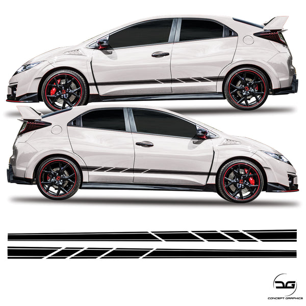 Honda Civic FK2 Side Stripes Slash Cut