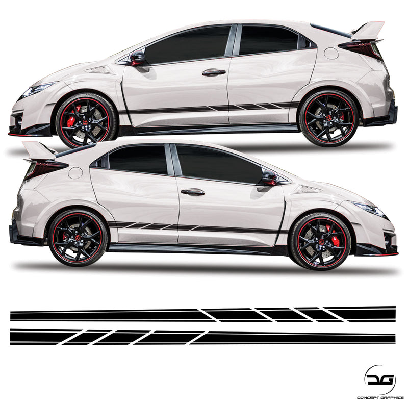 Honda Civic FK2 Side Stripes Slash Cut Sticker Graphics