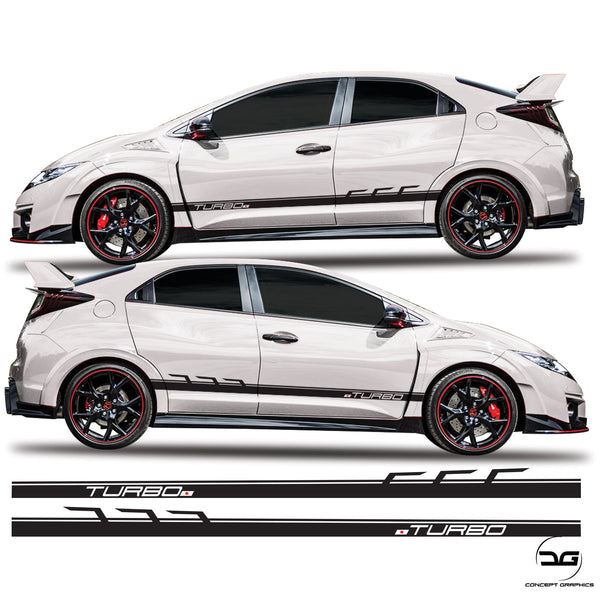 Honda civic Type R FK2 Side Stripes Racing Turbo Decals JDM