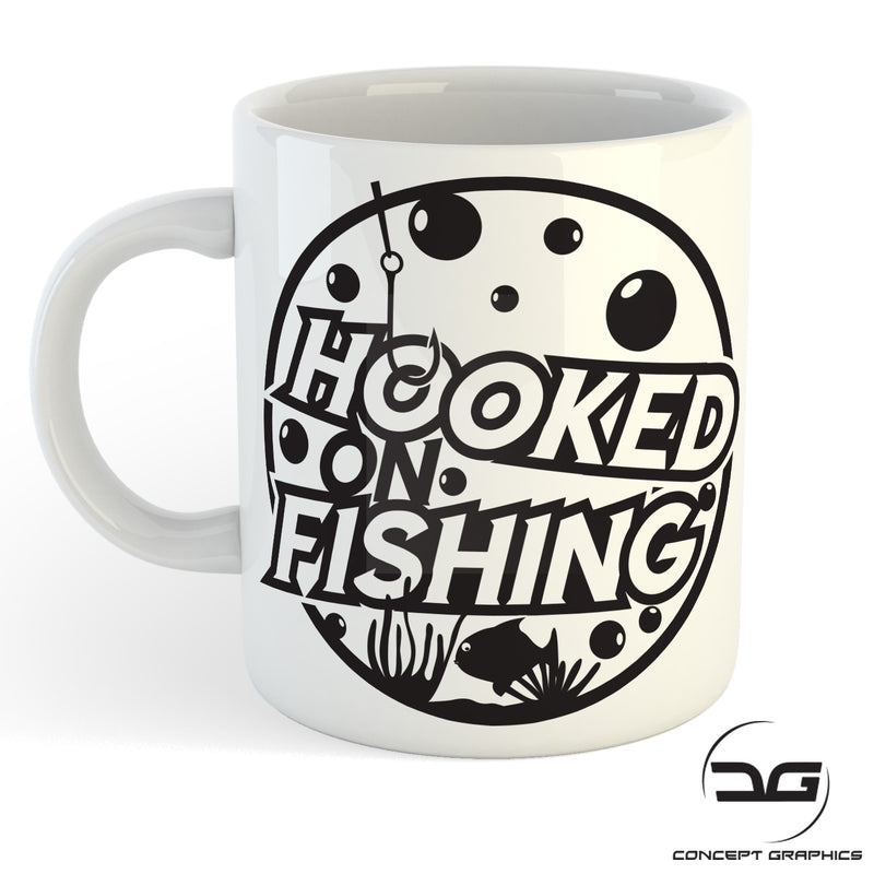 Hooked On Fishing Funny Novelty Coffee Cup Mug