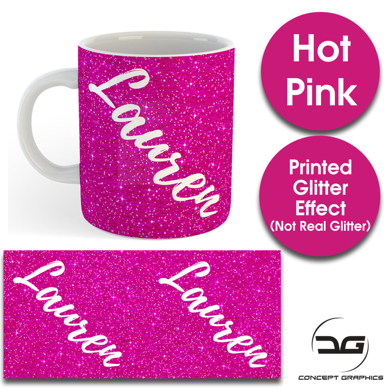 Custom Personalised Name Printed Hot Pink Glitter Effect Coffee Mug Cup