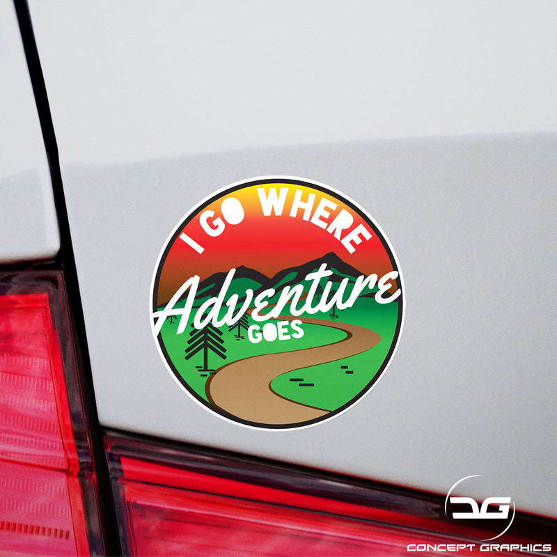 I Go Where Adventure Goes Car Camper Van Window Bumper Funny Vinyl Decal Sticker