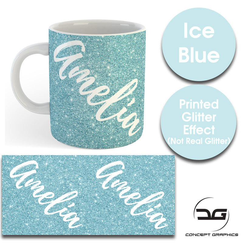 Custom Personalised Name Printed Ice Blue Glitter Effect Coffee Mug Cup