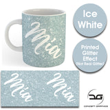 Custom Personalised Name Printed Ice White Glitter Effect Coffee Mug Cup