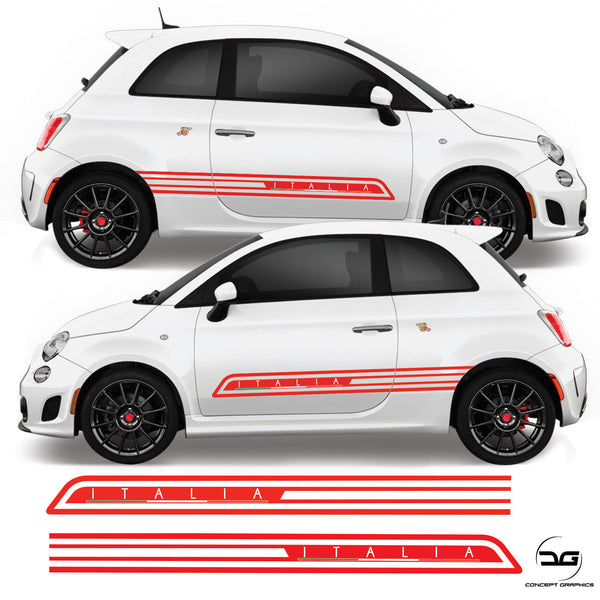 Fiat 500 Abarth 2008 Onwards Italia Italian Flag Side Stripe Vinyl Decal Sticker Graphics