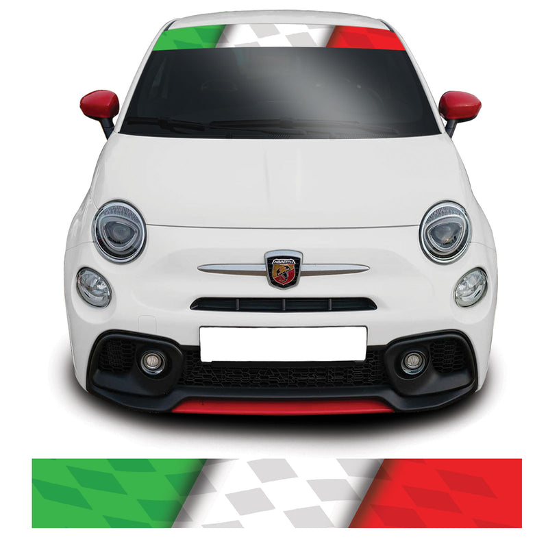 Fiat 500 Abarth Checkered Italian Flag Windscreen Sunstrip Banner Sticker