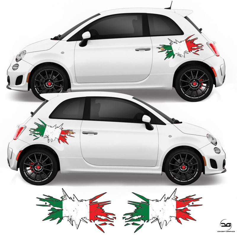 Fiat 500 Abarth 595 Italian Flag Side Stripe Graphic Stickers