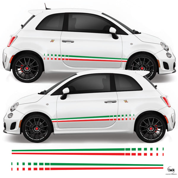 Fiat 500 Abarth Italian Flag Fade Side Stripe Vinyl Sticker Graphics