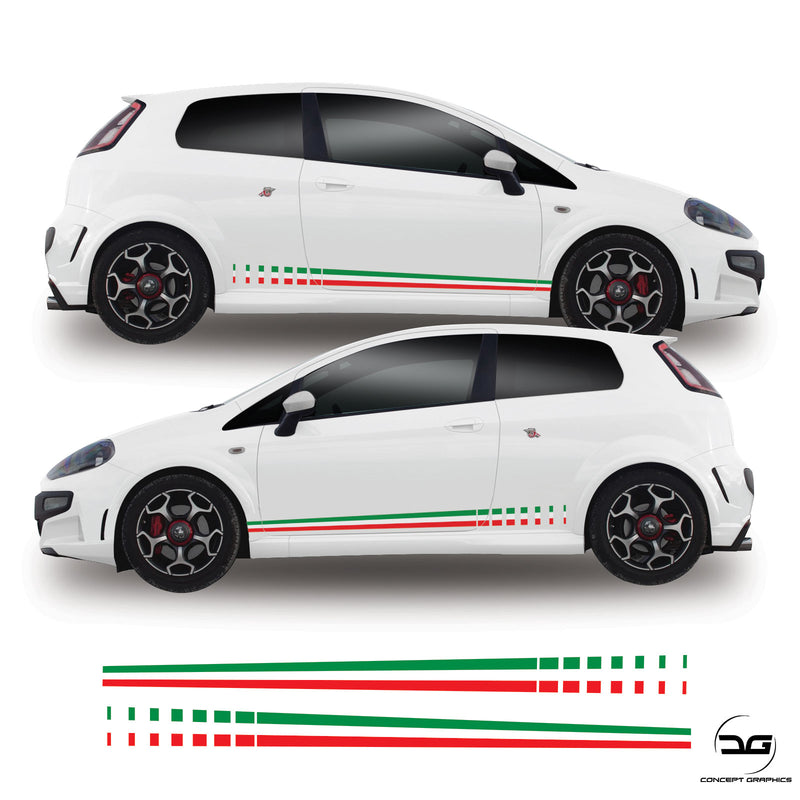 Fiat Punto MK3 Italian Flag Fade Side Stripe Vinyl Sticker Graphics