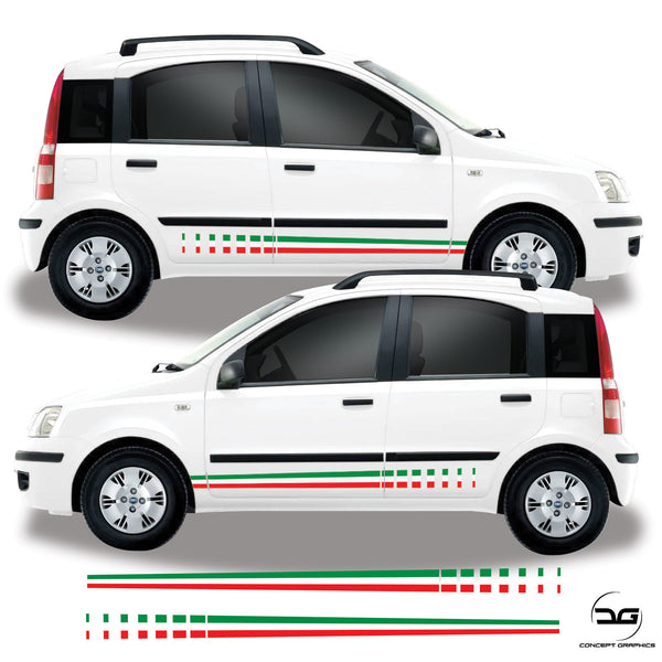 Fiat Panda MK3 Italian Flag Fade Side Stripe Vinyl Decal Sticker Graphics