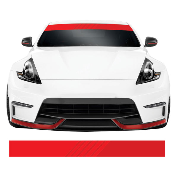 Red Fade Effect Stripe Car Windscreen Sunstrip Banner Vinyl Decal Sticker