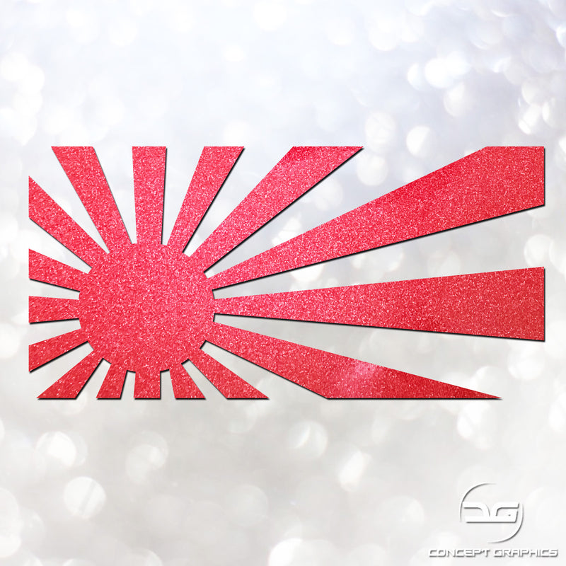 Funny JDM Japanese Rising Sun Glitter Vinyl Decal Sticker, Perfect for Mazda, Nissan, Toyota etc.