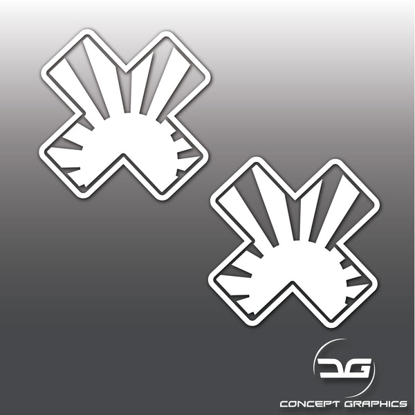2x Funny JDM Rising Sun Plasters Car Vinyl Decal Stickers