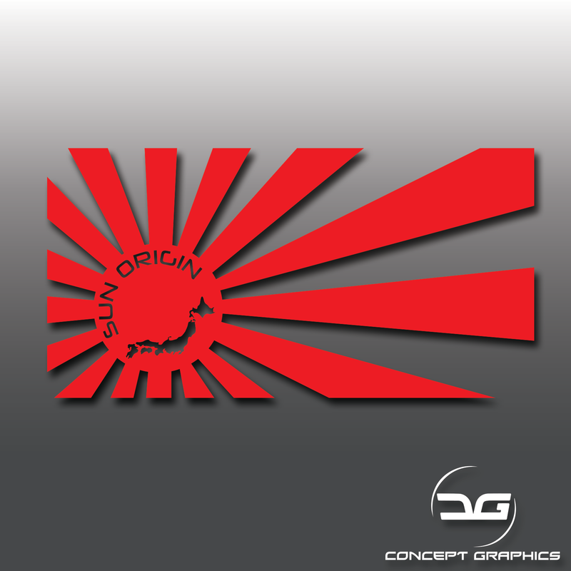 JDM Rising Sun Origin Map Vinyl Decal Sticker