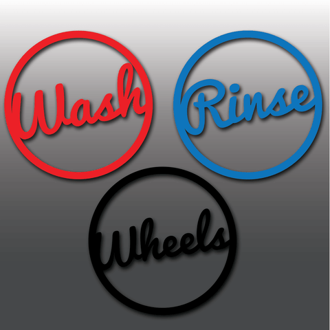 Large Car Detailing Wash, Rinse & Wheels Vinyl Bucket Stickers