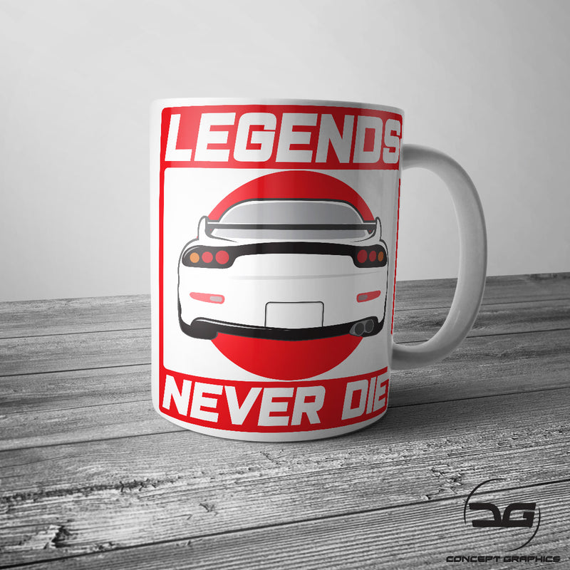Legends Never Die JDM Inspired RX7 Drift Car Coffee Cup/Mug