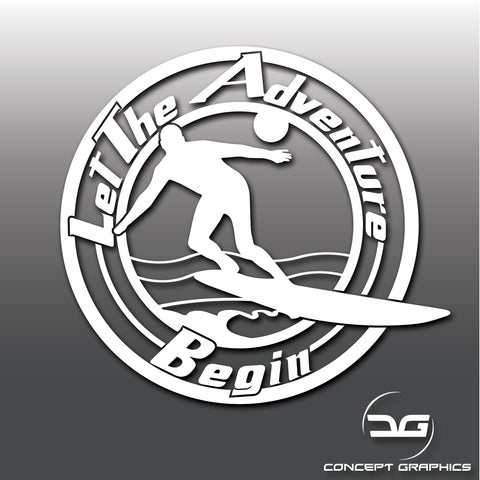 Let The Adventure Begin Windsurfing Vinyl Decal Sticker
