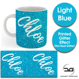 Custom Personalised Name Printed Light Blue Glitter Effect Coffee Mug Cup