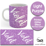 Custom Personalised Name Printed Light Purple Glitter Effect Coffee Mug Cup