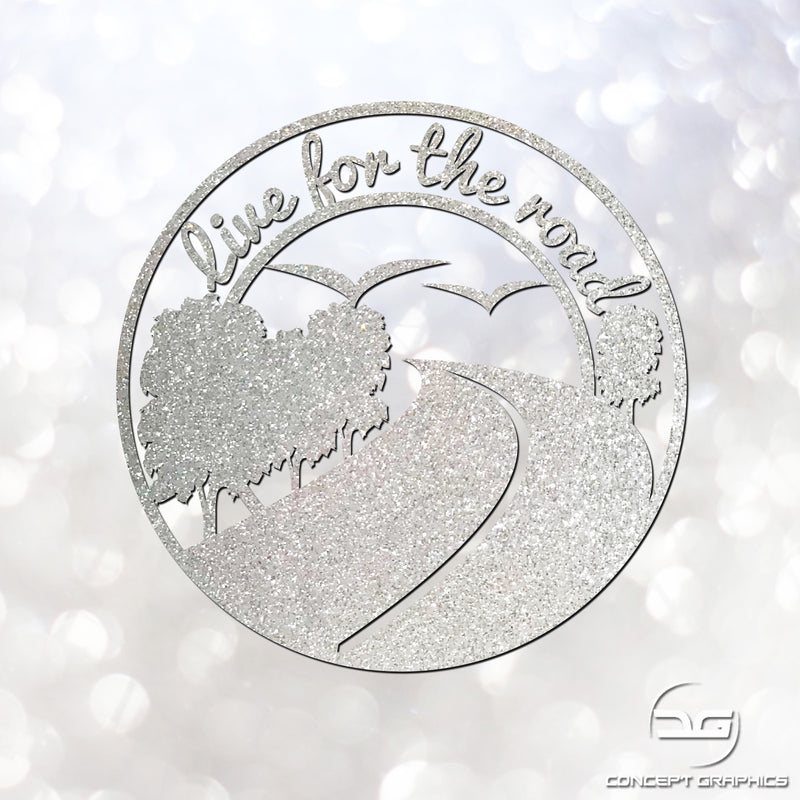 Live For The Road Car, Laptop, Macbook, Camper Glitter Vinyl Decal Sticker