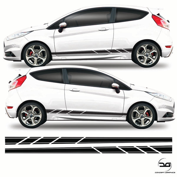 Slash Cut Side Stripes Sticker Graphics For Ford Fiesta, ST, ST200