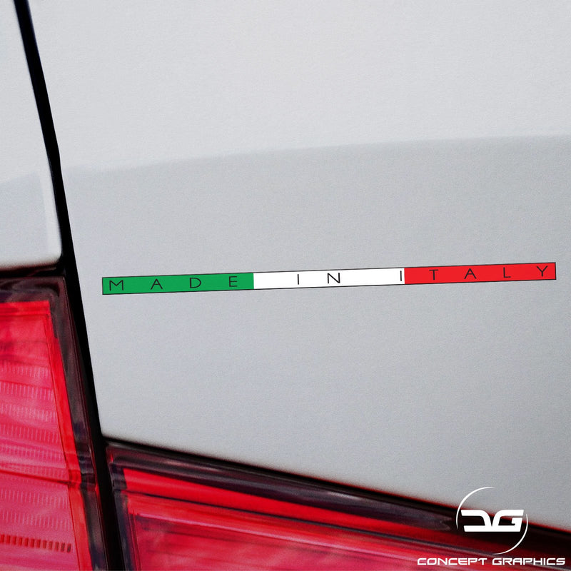 2x Made in Italy Italian Flag Stripe Funny Euro Car Vinyl Decal Sticker