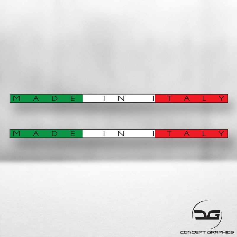 2x Made in Italy Italian Flag Stripe Car Vinyl Decal Sticker