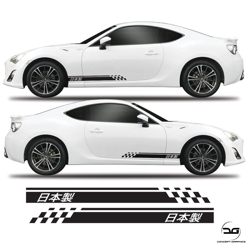 Made In Japan Half Side Stripes Decal Graphics Kit For Toyota GT86 Subaru BRZ