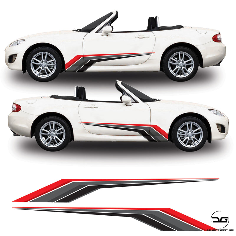 Mazda MX5 Mk3 NC Racing Side Stripe Decal Graphics Kit
