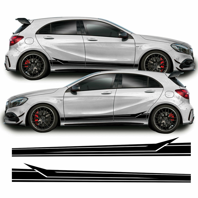 Mercedes A Class 2013 - 2018 W176 A45 AMG Lower Side Stripe Vinyl Decal Sticker Graphics Black