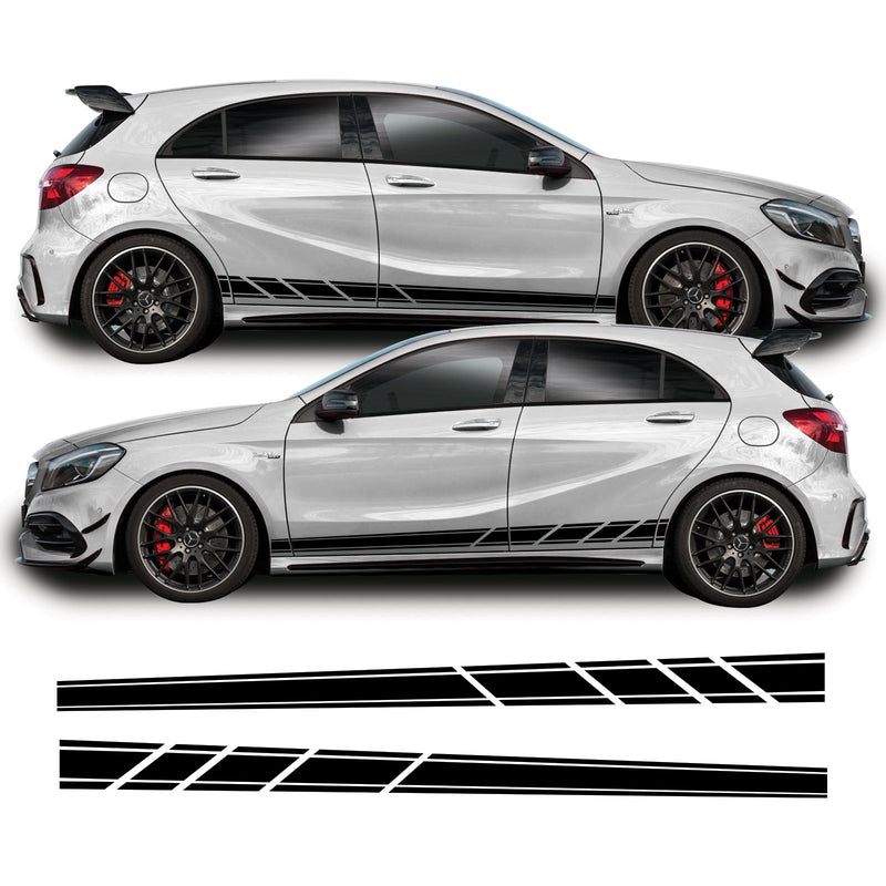 Mercedes A Class 2013 - 2018 W176 A45 AMG Side Stripe Vinyl Decal Sticker Graphics Black