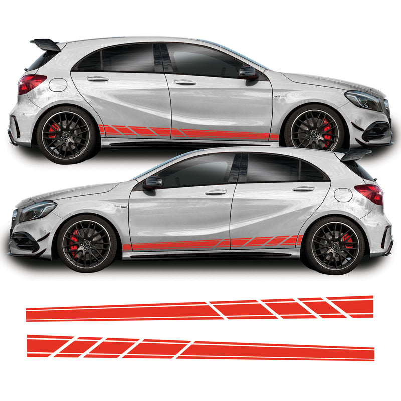 Mercedes A Class 2013 - 2018 W176 A45 AMG Side Stripe Vinyl Decal Sticker Graphics Red