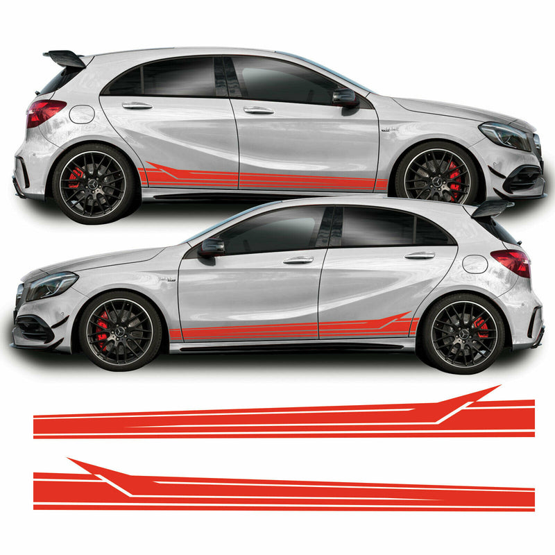 Mercedes A Class 2013 - 2018 W176 A45 AMG Lower Side Stripe Vinyl Decal Sticker Graphics Red