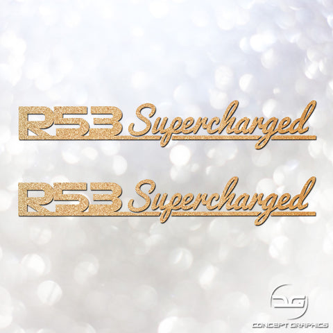 2x Mini Cooper S R53 JCW Supercharged Signature Glitter Decal Stickers