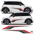 Mini Cooper S  R53 R56 F56 Race Side Stripes Vinyl Decal Sticker Graphics JCW Works One S