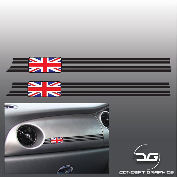 2x R53 Mini Cooper S JCW, GP Union Jack Colour Dashboard Vinyl Decal Stickers