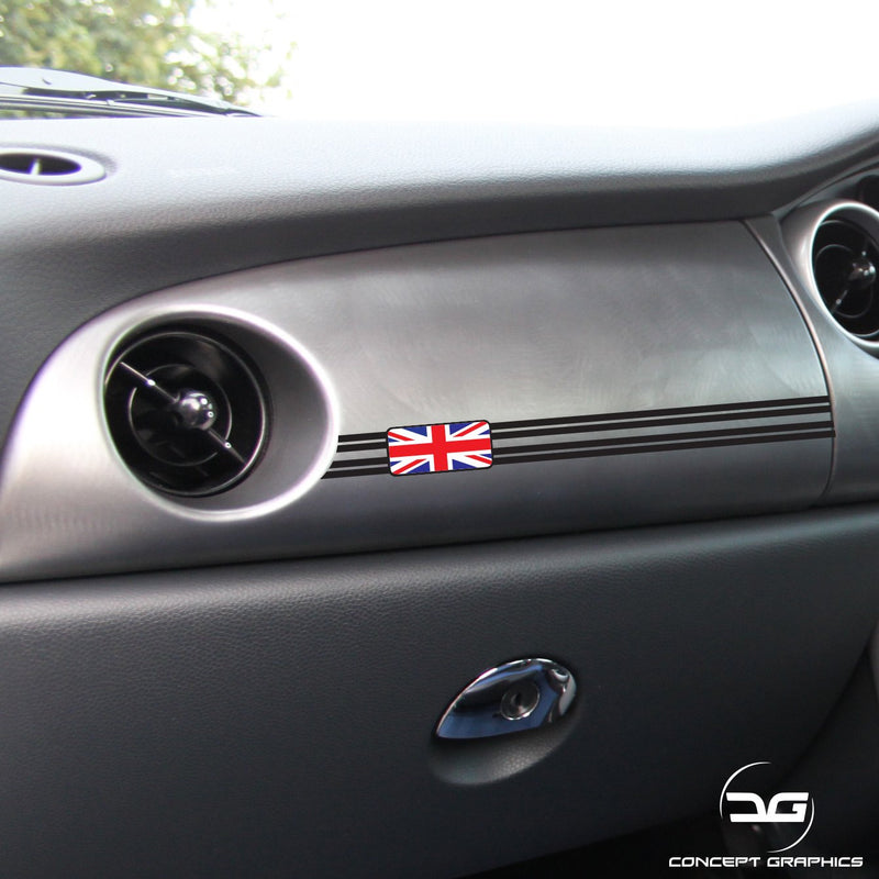 2x R53 Mini Cooper S Union Jack Colour Dashboard Vinyl Decal Stickers