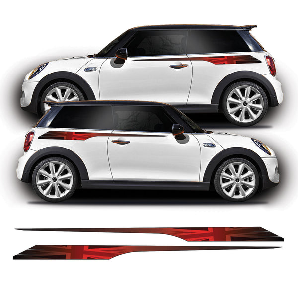 Union Jack Side Stripe Graphic Stickers For F56 Mini Cooper S, JCW, Works