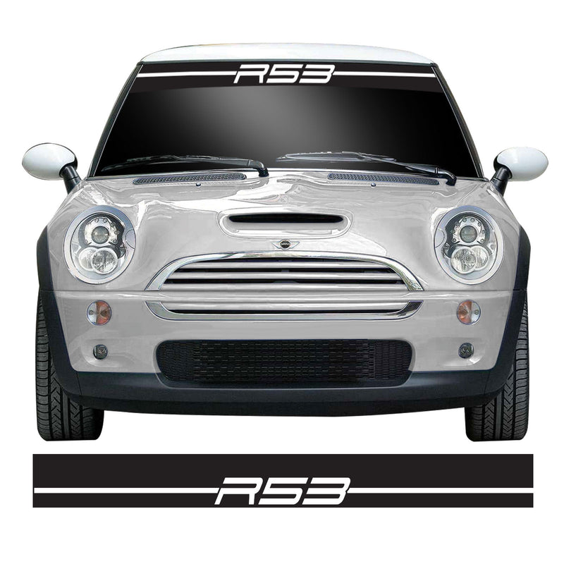 R53 Stripe Windscreen Sunstrip Banner Vinyl Decal Sticker Compatible with Gen 1 Mini Cooper Models