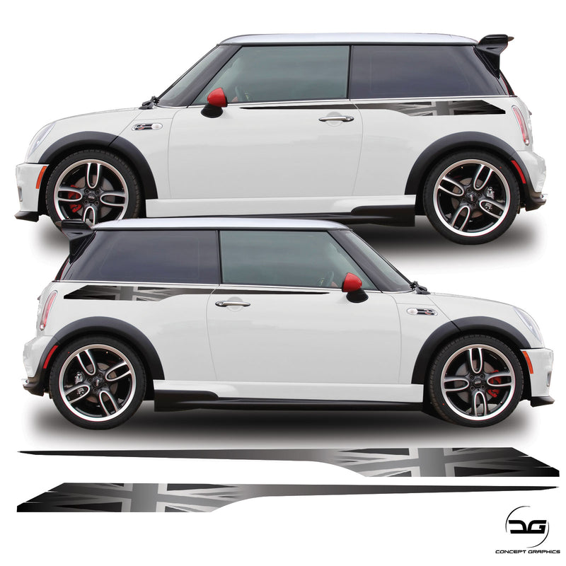 Grey Union Jack Upper Side Stripe Graphic Stickers For R53 Mini Cooper S, JCW, One
