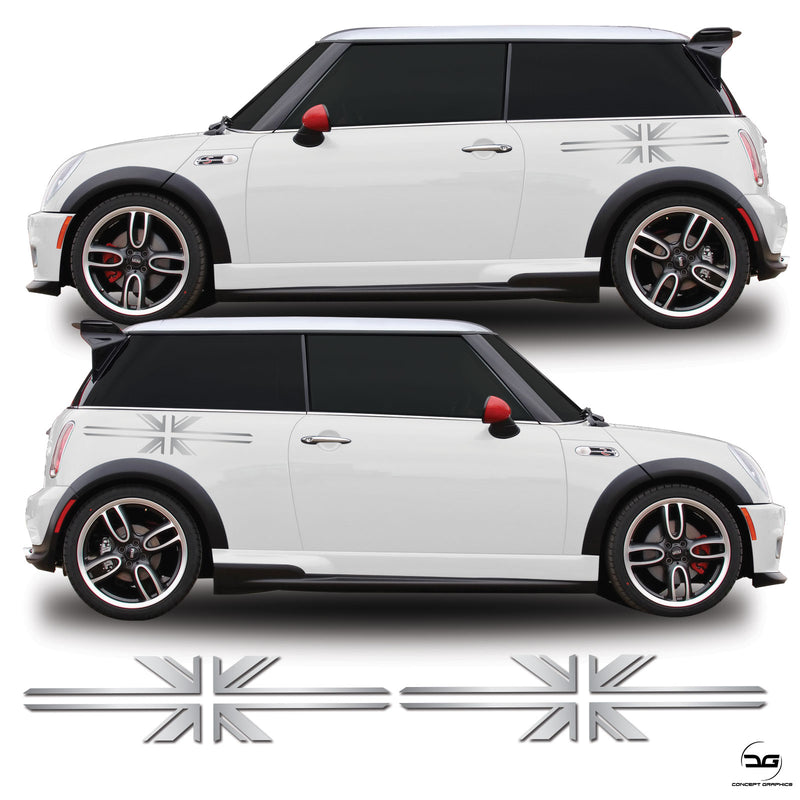Union Jack Side Graphic Stickers For R53 Mini Cooper S, One, JCW