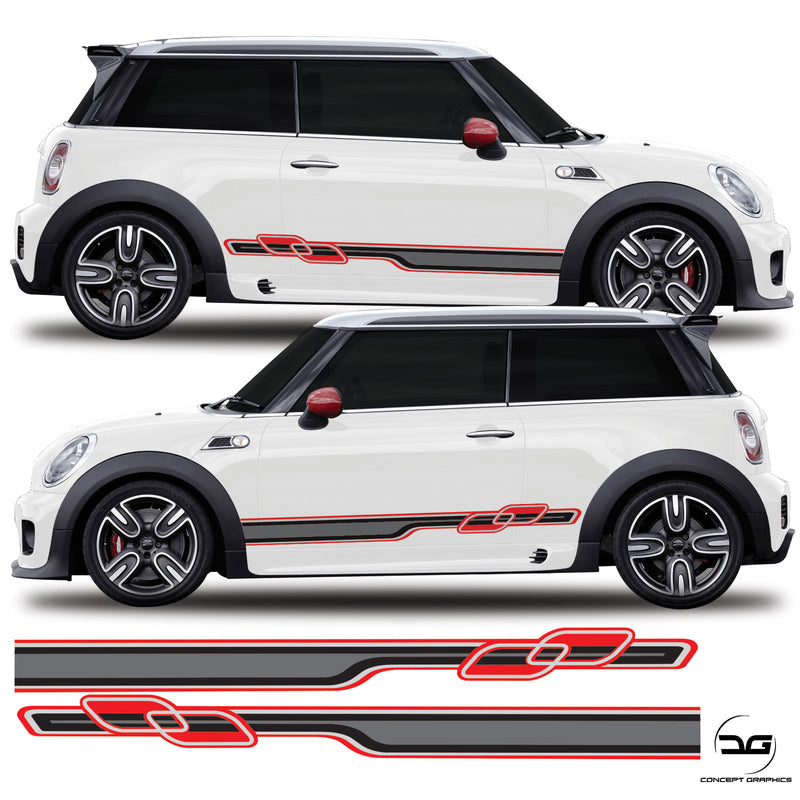 Mini Coope Gen 2 R56 2006 Onwards Race Side Stripes Vinyl Decal Sticker Graphics JCW Works One S