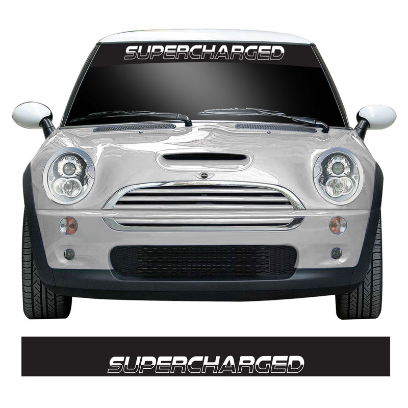 Supercharged Mini Cooper S, One, JCW R53 Windscreen Sunstrip Banner Vinyl Decal Sticker
