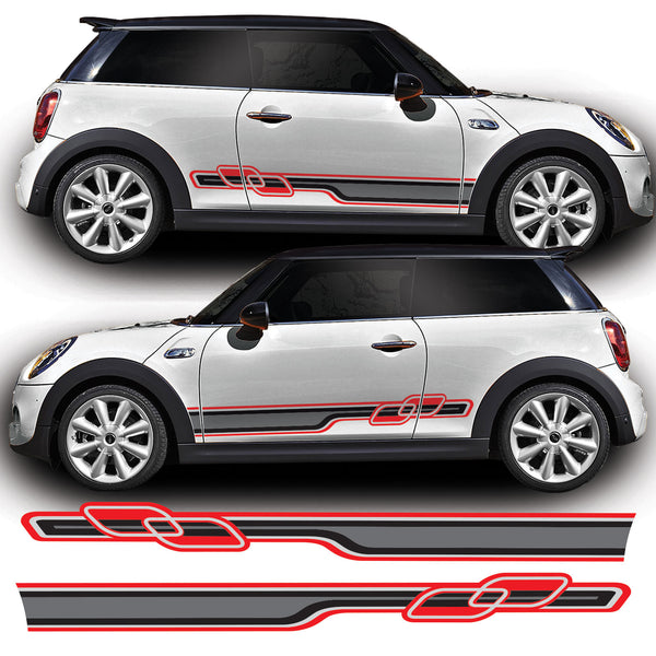 Mini Cooper 2014 Onwards F56 Gen 3 Race Side Stripes Vinyl Decal Sticker Graphics JCW Works One S