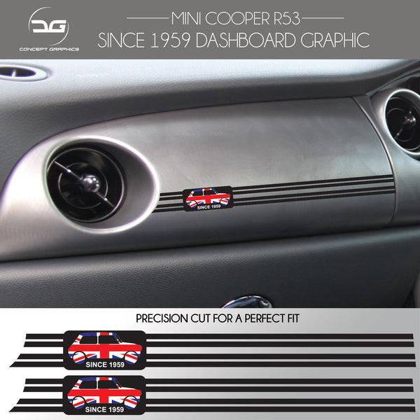 2x Mini Cooper S R53 Since 1959 JCW GP Union Jack Dashboard Vinyl Decal Stickers