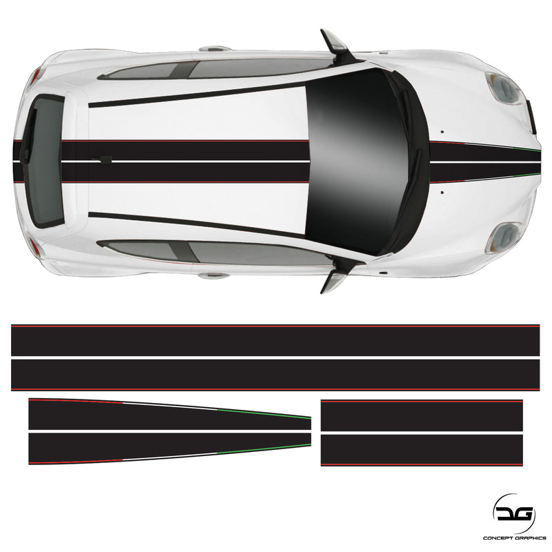 Alfa Romeo Mito Full Racing Stripe Black Italian Vinyl Decal Sicker Graphic Kit