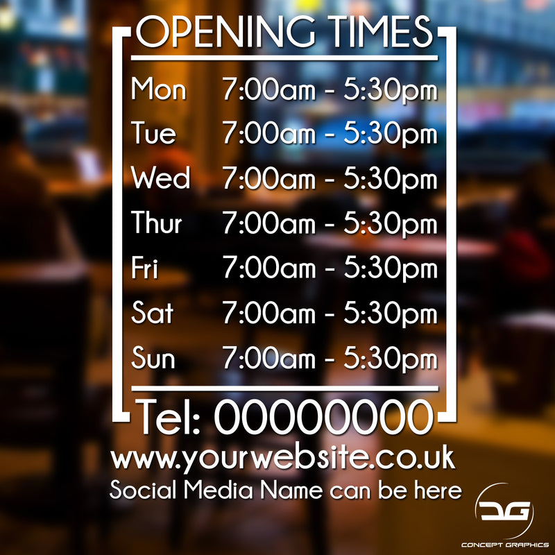 Modern Personalised Opening Hours/Times Business Window Wall Vinyl Sign